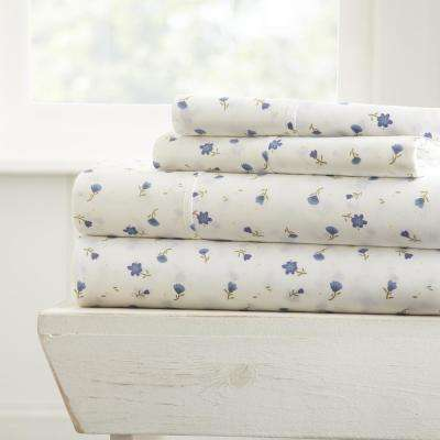 Soft Floral Patterned 4-Piece Light Blue California King Performance Bed Sheet Set
