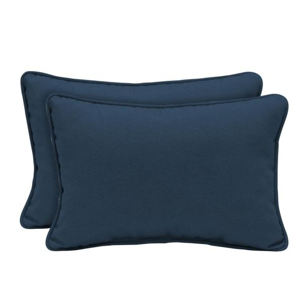 Acrylic Indigo Linen Outdoor Lumbar Pillow (2-Pack)