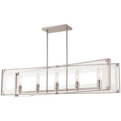 Delightful Crystal Clear 5 Light Polished Nickel Billiard Light