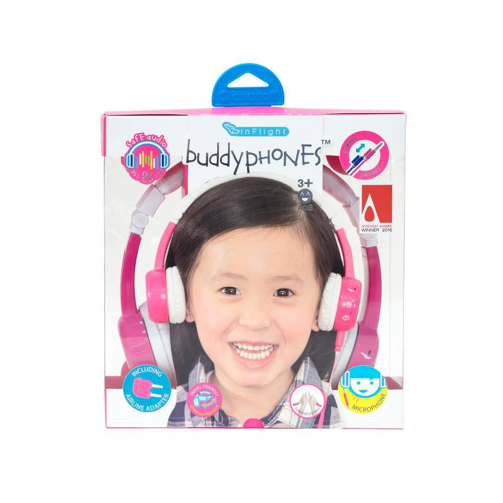 BuddyPhones InFlight in Pink Buddy Phones Pink Wireless Bluetooth Volume Limiting Headphone for Kids. The BuddyPhones InFlight features a patented 3-volume preference setting of 75dB, 85dB and 94db for the perfect volume in any environment. Foldable, durable and the perfect sidekick on your next adventure.