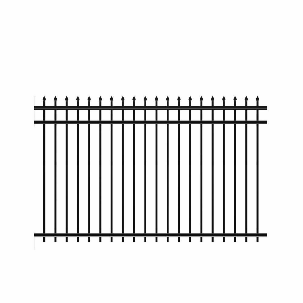 Cascade Heavy-Duty 5 ft. H x 8 ft. W Black Aluminum Pre-Assembled Fence Panel