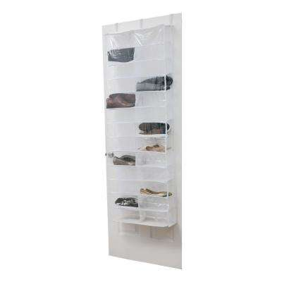 22 in. x 6 in. x 63 in. 26 Pocket Crystal Clear Over The Door Shoe Caddy