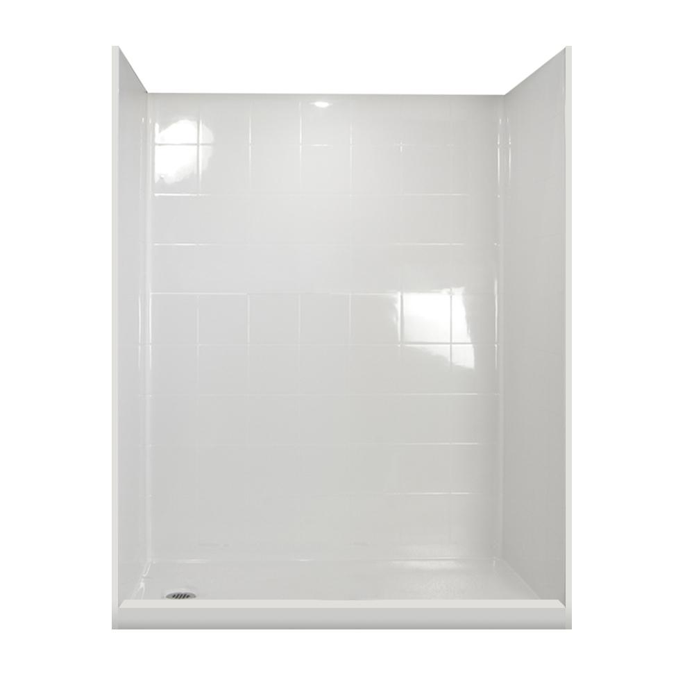Ella Standard Package 60 in. x 33.375 in. x 79.5 in. 5-Piece Low Threshold Shower Stall in White, Left Drain