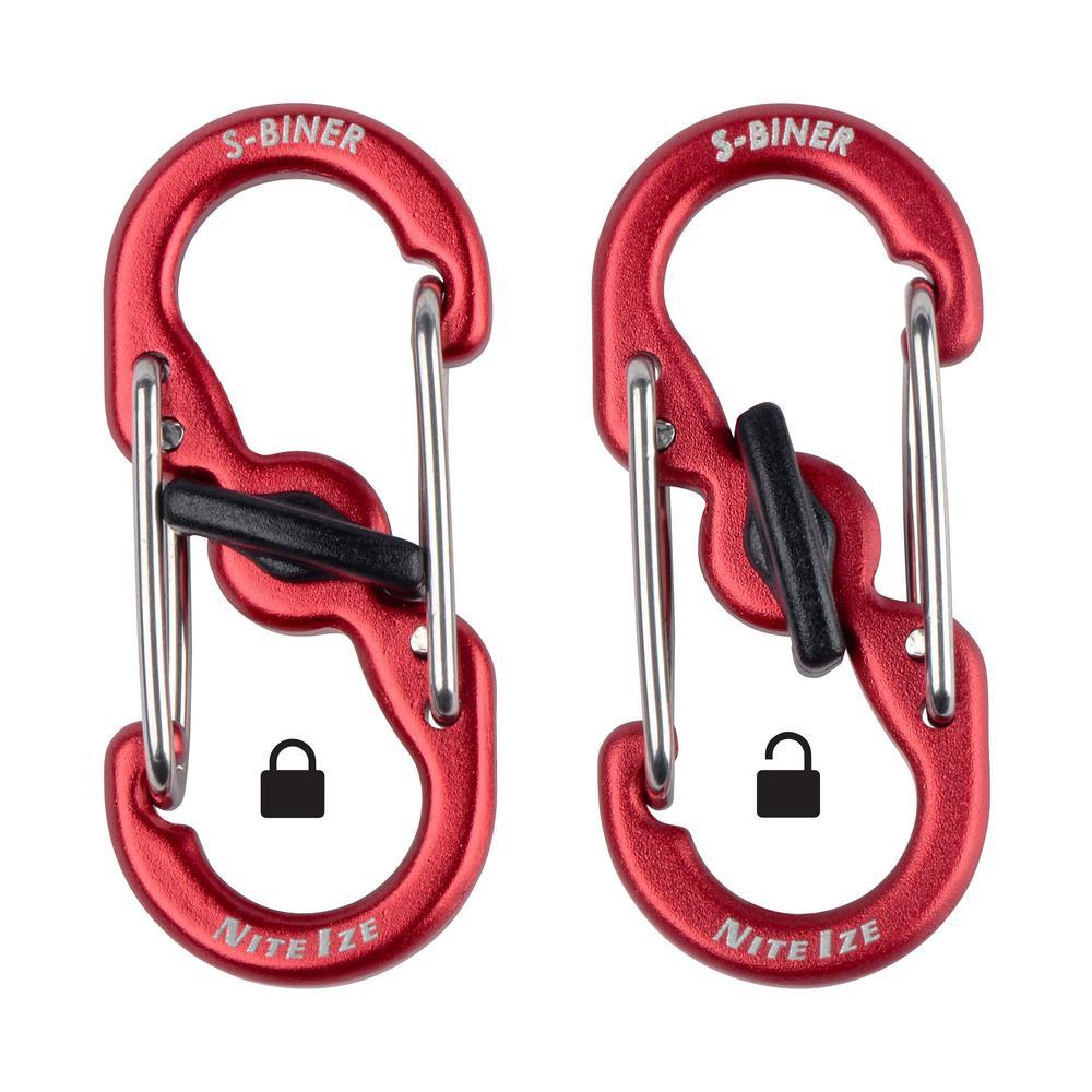S-Biner TagLock Aluminum in Red (2-Pack)