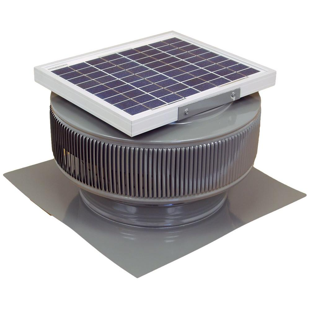 740 CFM Weatherwood Powder Coated 10-Watt Solar Powered 12 in. Dia.