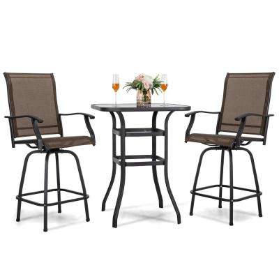 Brown 3-Piece Steel Outdoor Patio Bar Set with High Swivel Bistro Chairs