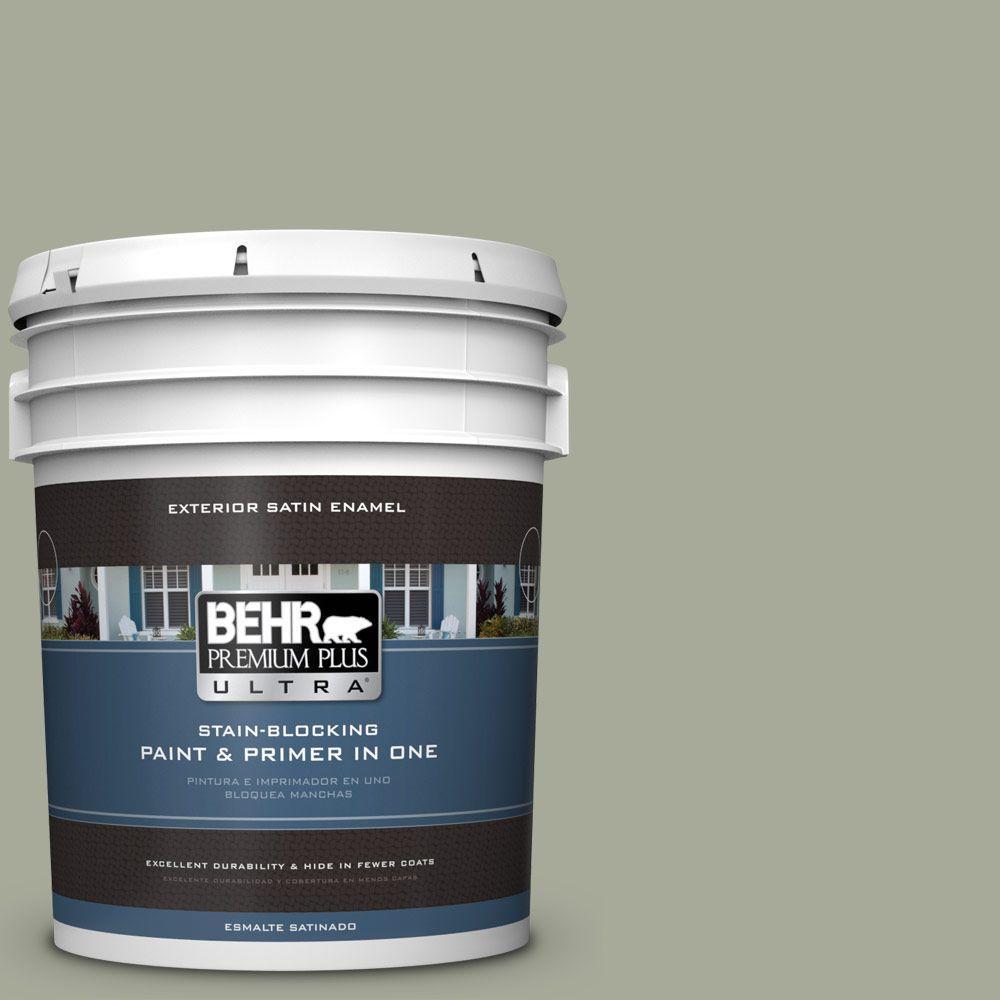 BEHR Premium Plus Ultra 5-gal. #PPU10-16 Simply Sage Satin Enamel Exterior Paint