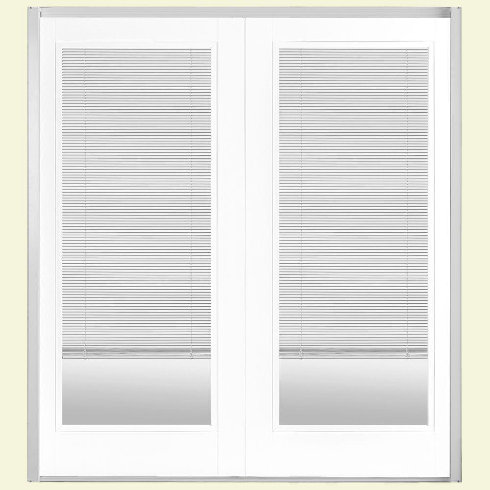 Masonite 60 in. x 80 in. Ultra White Prehung Right-Hand Inswing Mini Blind Steel Patio Door with Brickmold in Vinyl Frame