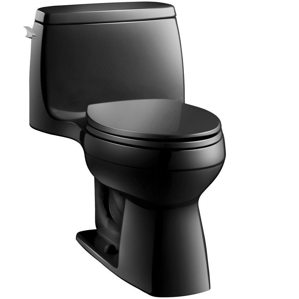 Santa Rosa Comfort Height 1-piece 1.28 GPF Single Flush Compact Elongated Toilet with AquaPiston Flush in Black Black