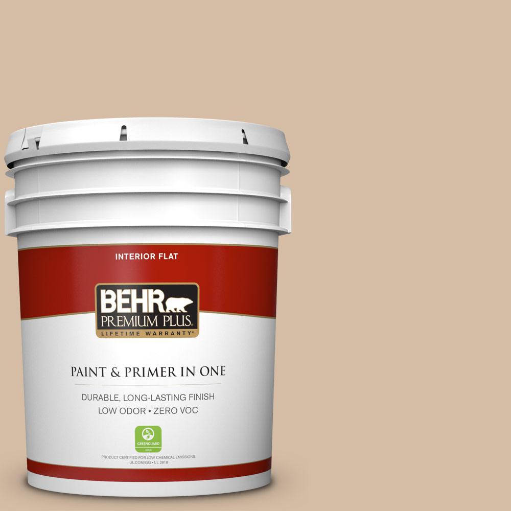 BEHR Premium Plus Home Decorators Collection 5 gal. #HDC-MD-12 Tiramisu Cream Flat Zero VOC Interior Paint and Primer in One