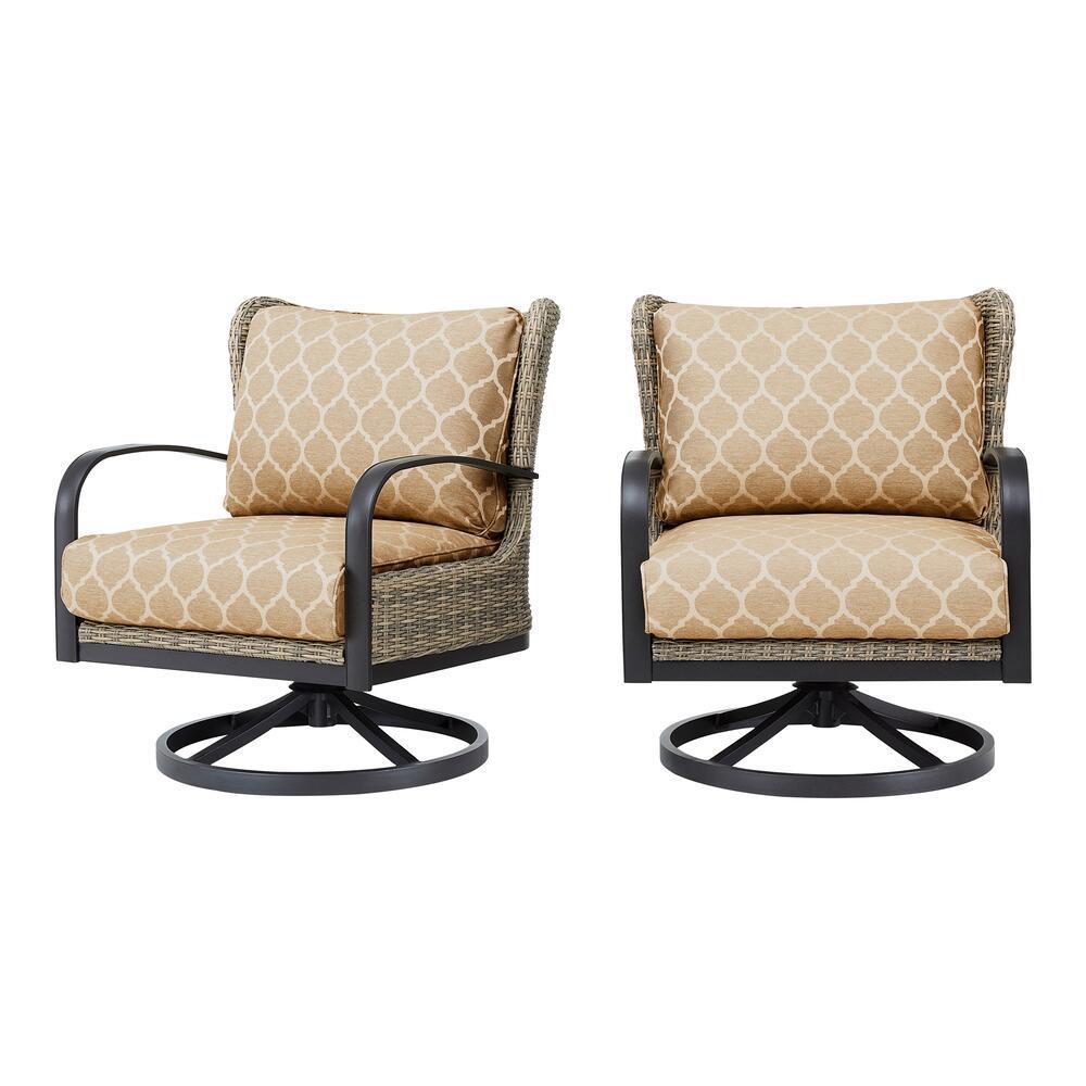 Hazelhurst Brown Wicker Outdoor Patio Swivel Lounge Chair with CushionGuard Toffee Trellis Tan Cushions (2-Pack)
