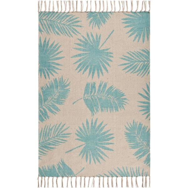 Arizon Soft Blue/Cream 2 ft. 6 in. x 3 ft. 9 in. Palm Leaves Tropical Tassel Cotton Accent Rug