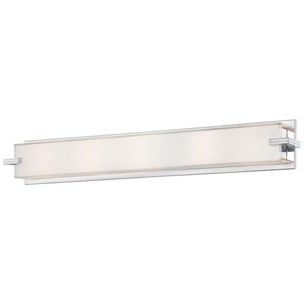 Cubism 5-Light Chrome Bath Light with Mitered White Glass Shade