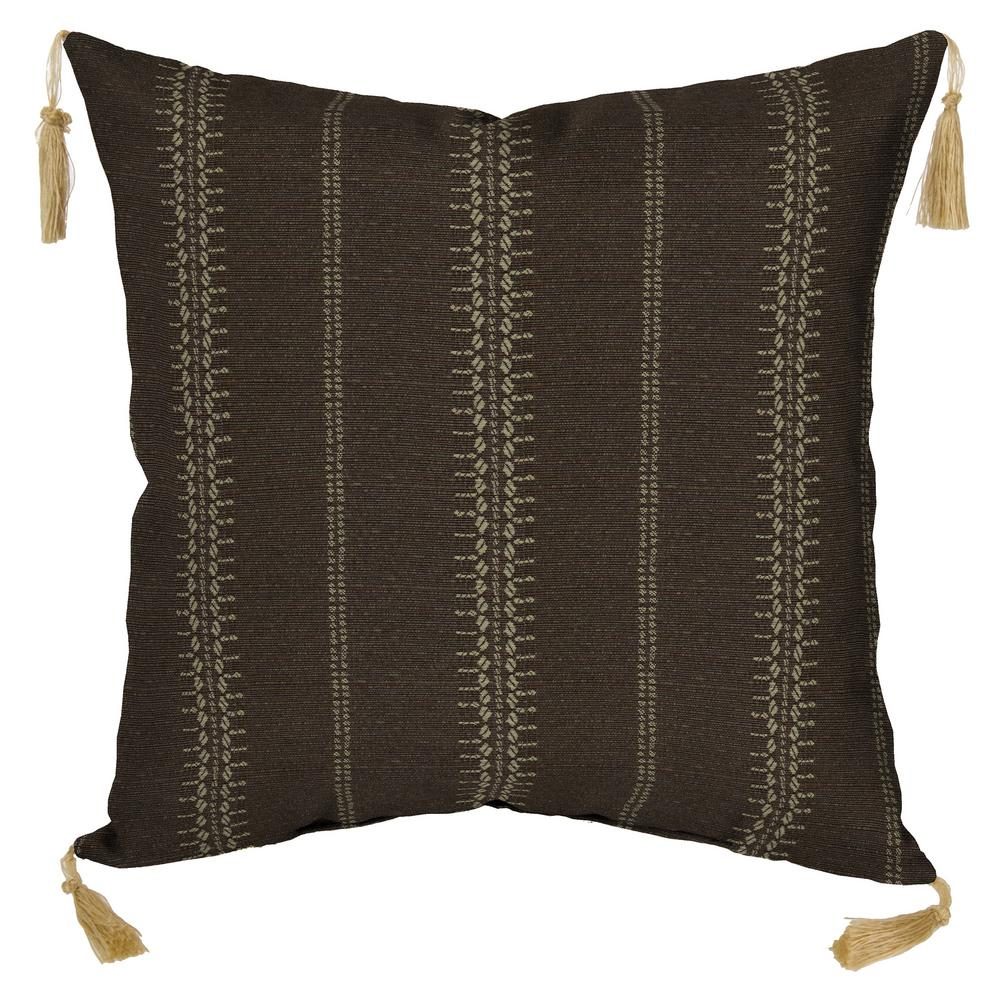 Trevor Stripe Espresso Square Outdoor Throw Pillow with Tassels (Pack of