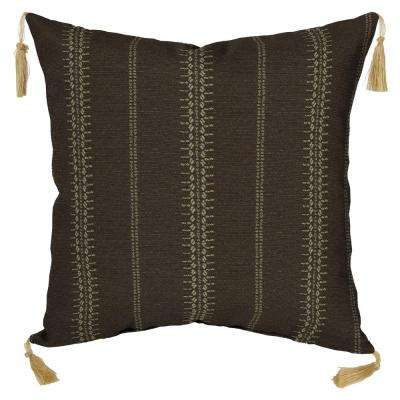 Trevor Stripe Espresso Square Outdoor Throw Pillow with Tassels (Pack of 2)