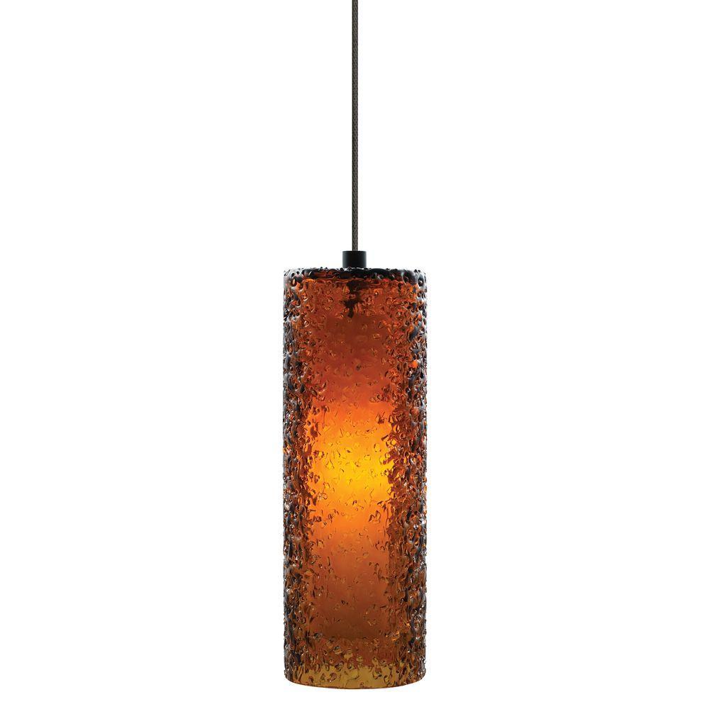 Mini-Rock Candy Cylinder 1-Light Bronze Xenon Hanging Mini Pendant with Dark