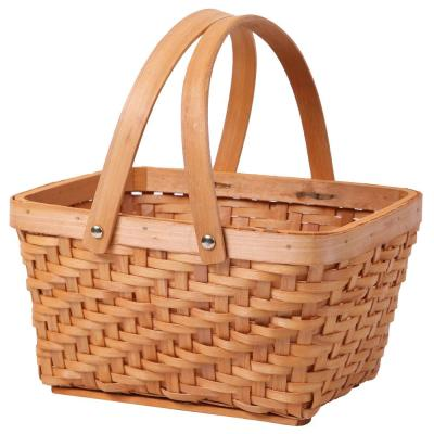 10.2 in. x 7.7 in. x 5.5 in. Wood Chip Rectangular Picnic Basket