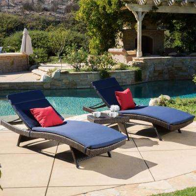 Multi-Brown 3-Piece Wicker Outdoor Chaise Lounge and Table Set with Navy Blue Cushions