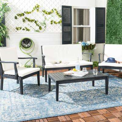Del Mar 4-Piece Dark Slate Gray Wood Patio Seating Set with Beige Cushions