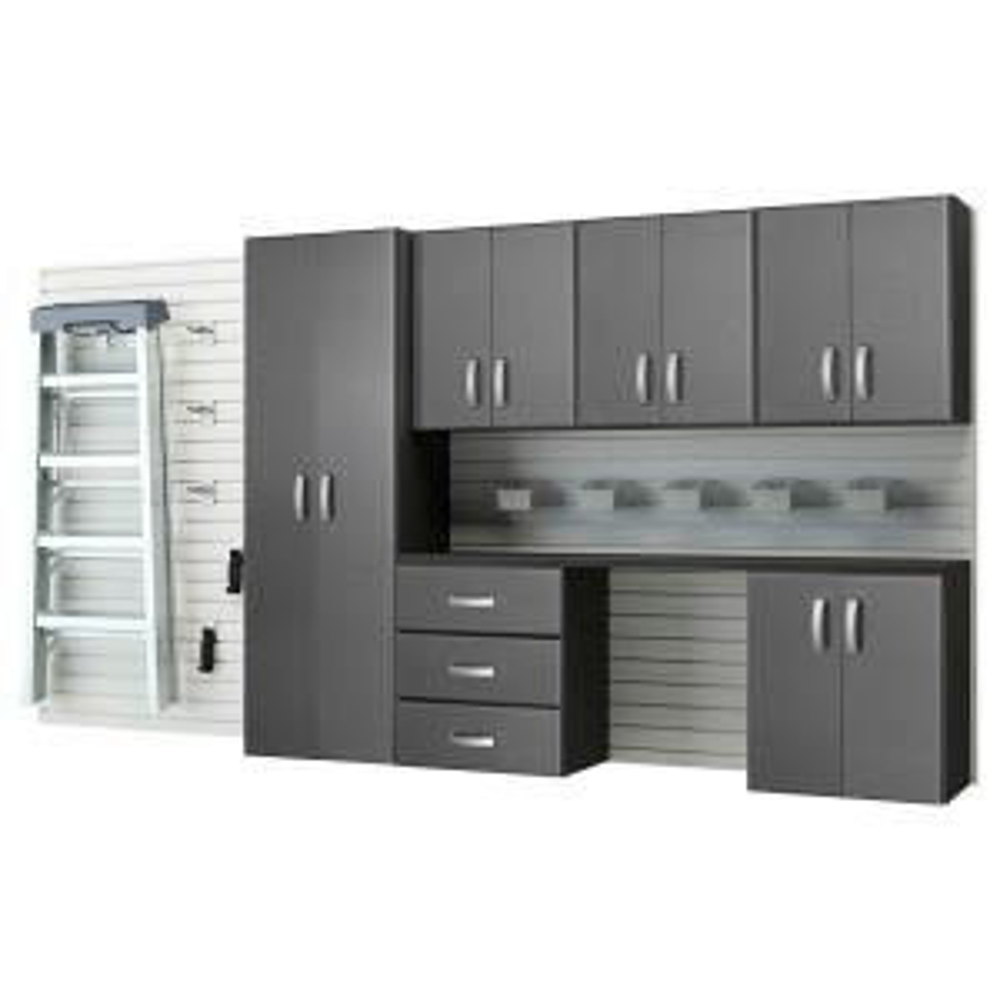 Flow Wall Modular Mounted Garage Cabinet Storage Set With Workstation Accessories White Graphite Carbon Fiber 22 Piece Fcs 12017 12w 6sc2 The