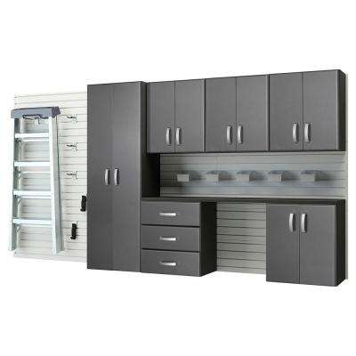 Modular Wall Mounted Garage Cabinet Storage Set with Workstation/Accessories - White/Graphite Carbon Fiber (22-Piece)