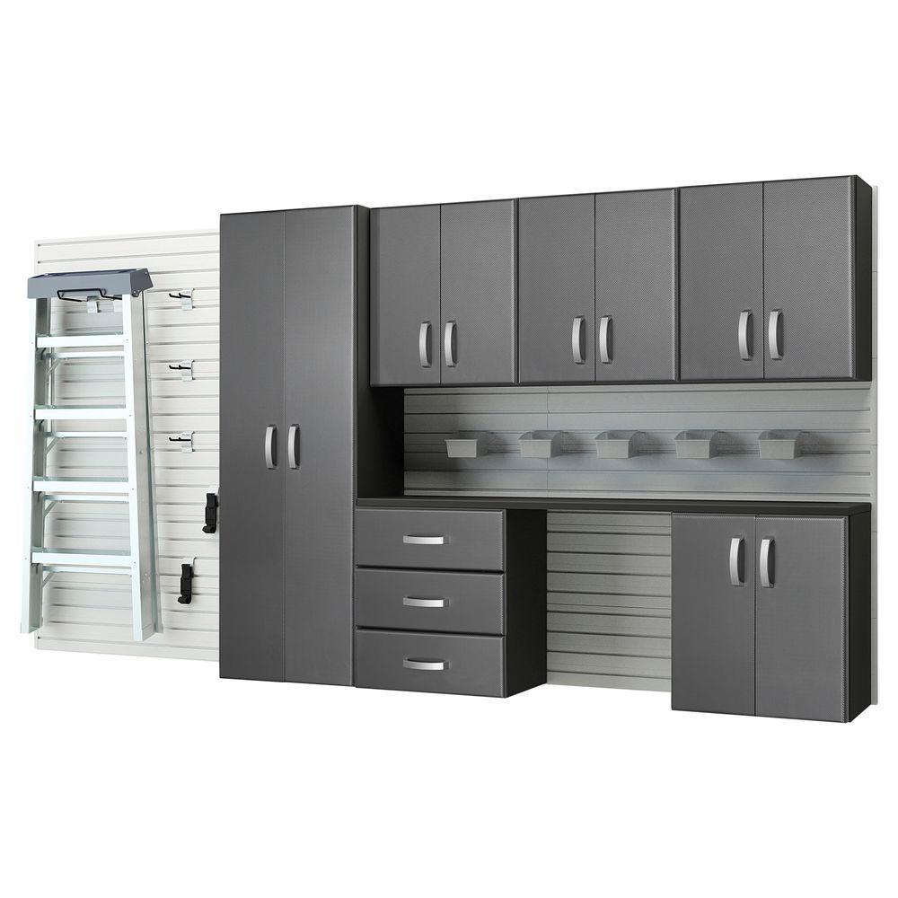 Modular Wall Mounted Garage Cabinet Storage Set With  Workstation/Accessories   White/Graphite Carbon
