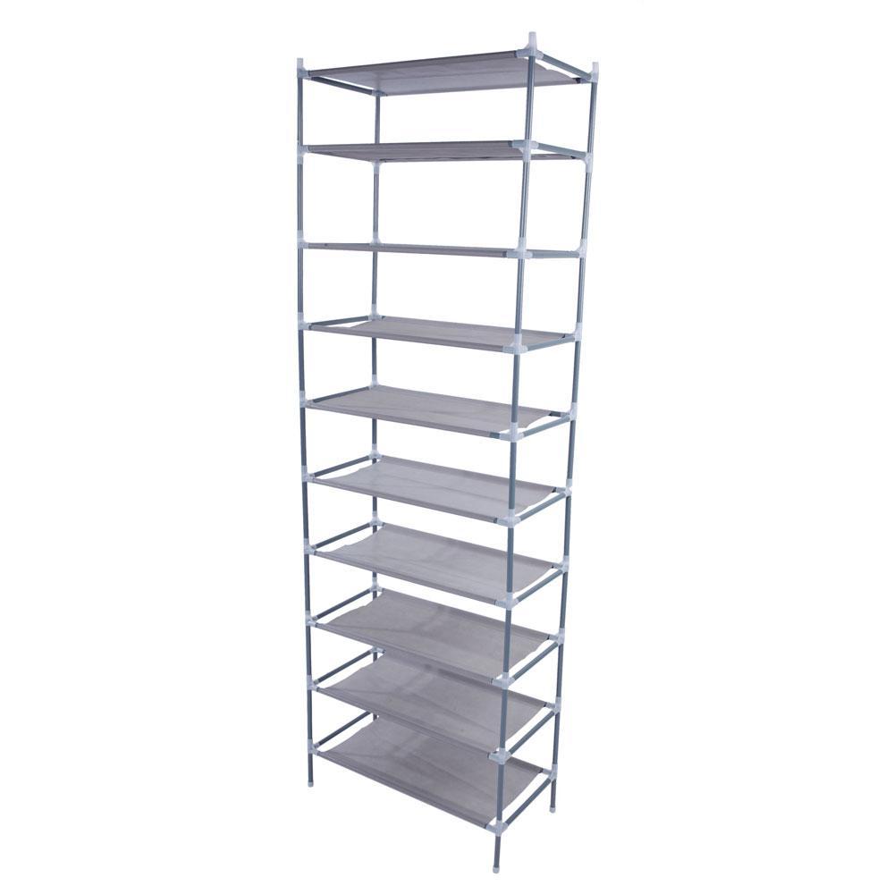 10 Tier 50 Pair Shoe Rack Shelf Fabric Tier Space Saving Organizer Shelf Storage