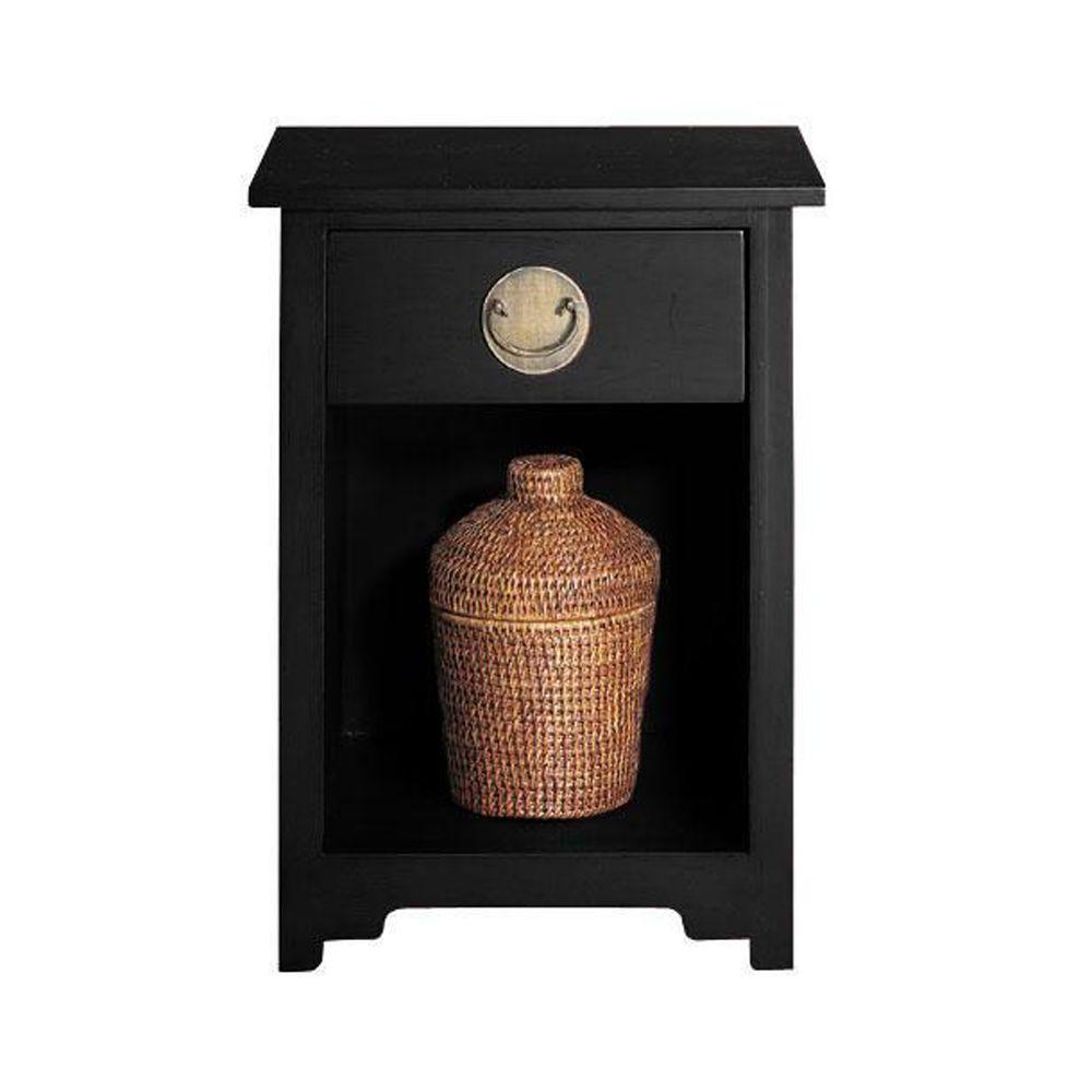 Home Decorators Collection Wuchow Antique Black 1-Drawer End Table
