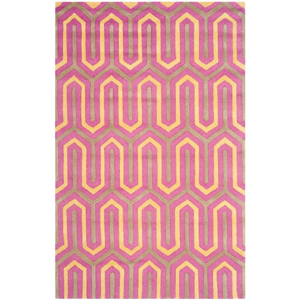 Cambridge Fuchsia/Gray 3 ft. x 5 ft. Area Rug
