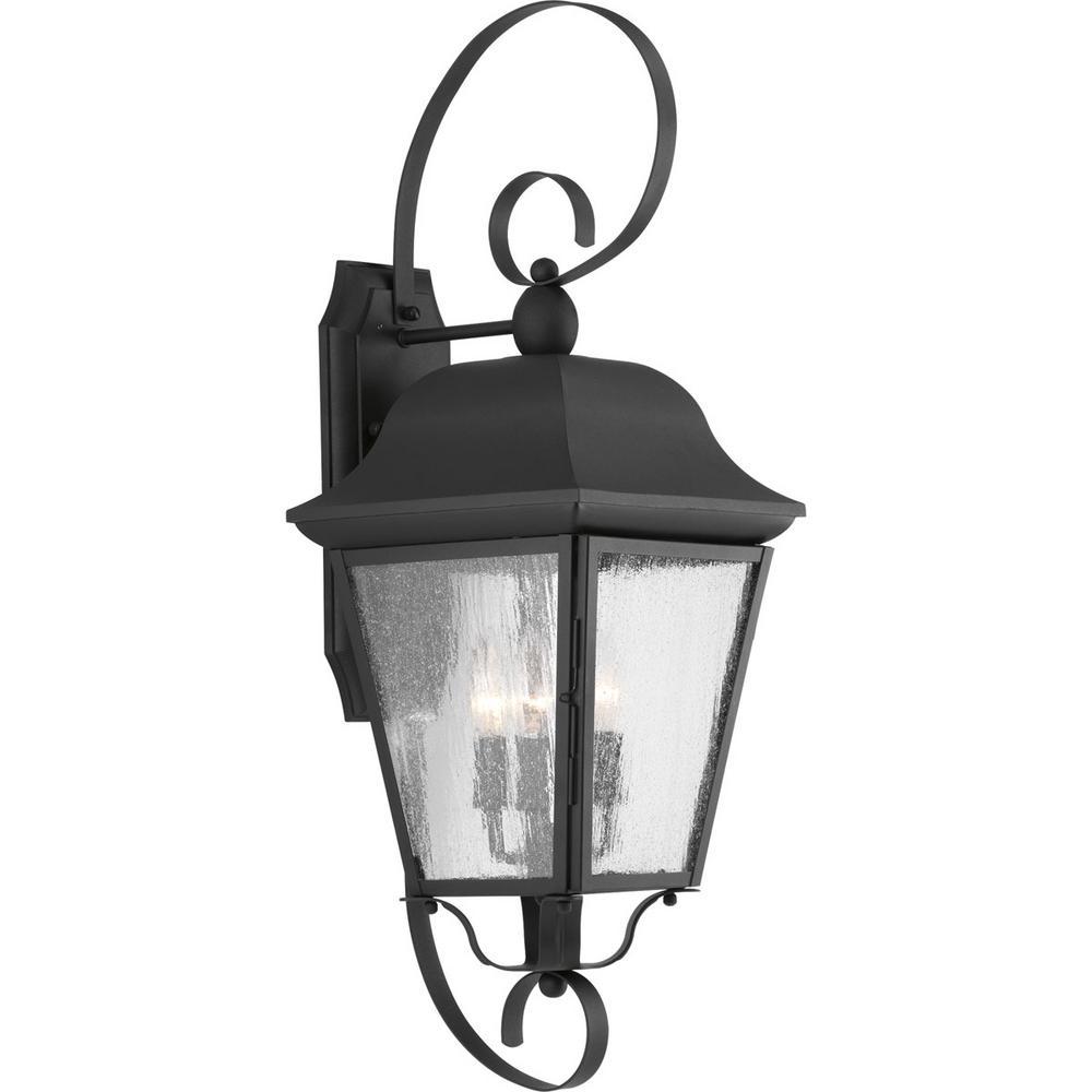 Kiawah Collection 3-Light Black Outdoor Wall Lantern