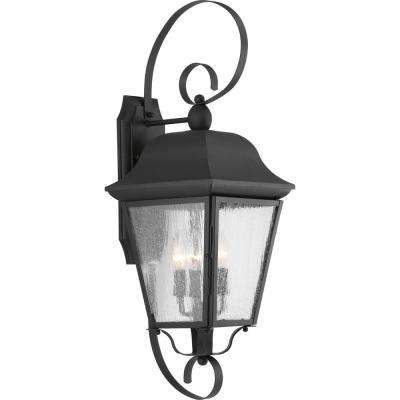 Kiawah Collection 3-Light Black 27.25 in. Outdoor Wall Lantern Sconce
