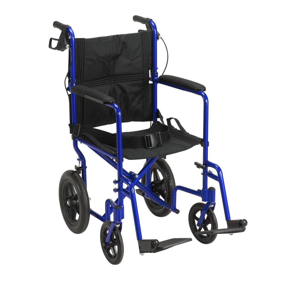 Expedition Transport Wheelchair with Hand Brakes in Blue
