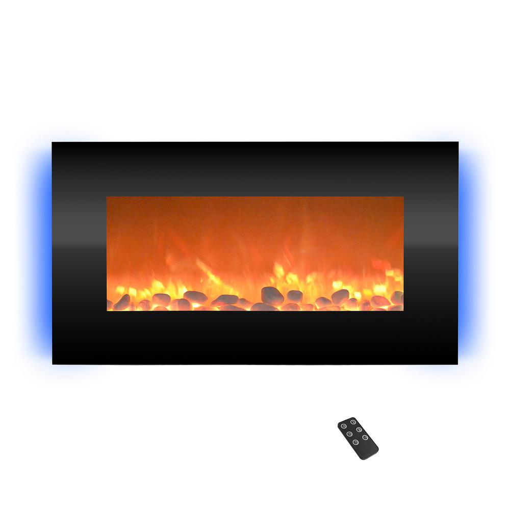 Wall Mount Electric Fireplace With Led Backlights In Black