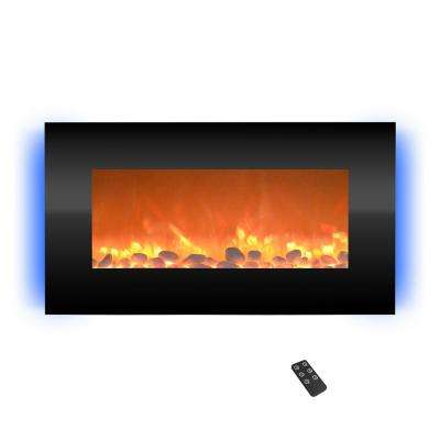 30.5 in. Wall Mount Electric Fireplace with LED Backlights in Black