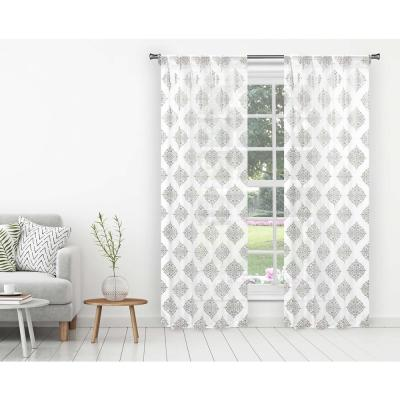 Nash White-Silver Polyester Room Darkening Pole Top Window Curtain 38 in. W x 96 in. L (2-Pack)