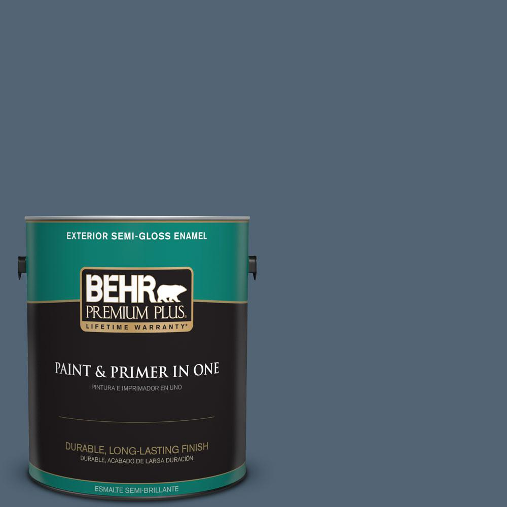 1-gal. #570F-6 Mood Indigo Semi-Gloss Enamel Exterior Paint