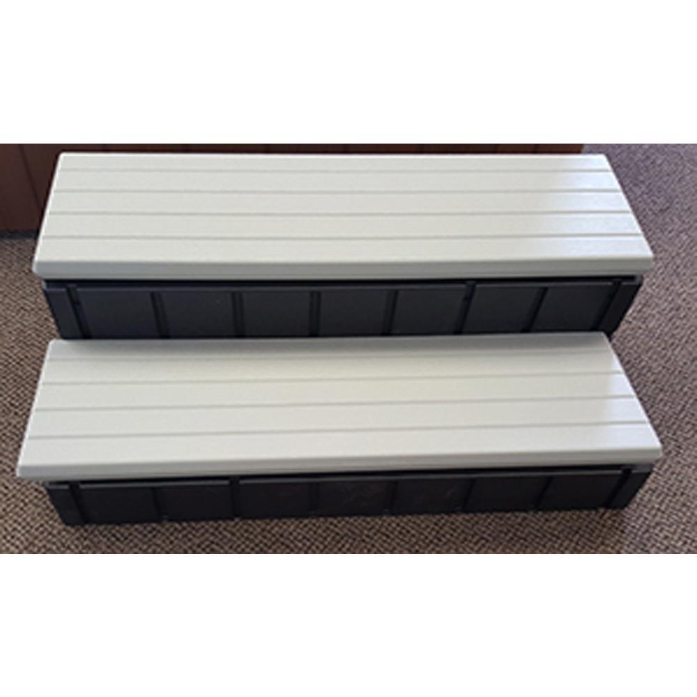36 in. x 14 in. Hot Tub Steps in Gray