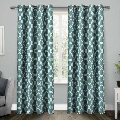 Gates 52 in. W x 96 in. L Woven Blackout Grommet Top Curtain Panel in Teal (2 Panels)