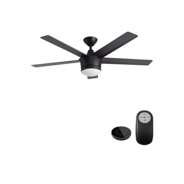 Merwry 52 in. Integrated LED Indoor Matte Black Ceiling Fan with Light Kit Works with Google Assistant and Alexa