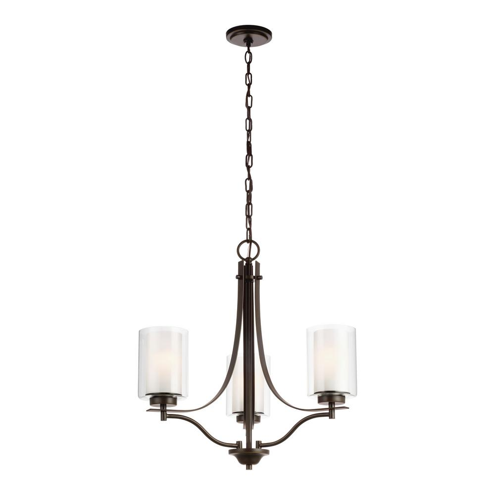Sea Gull Lighting Elmwood 3-Light Heirloom Bronze Chandelier with Satin Etched Glass Shades and LED Bulbs
