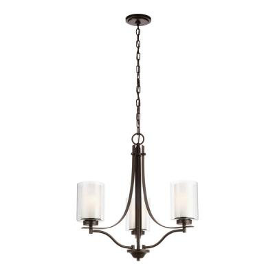 Elmwood 3-Light Heirloom Bronze Chandelier with Satin Etched Glass Shades and LED Bulbs