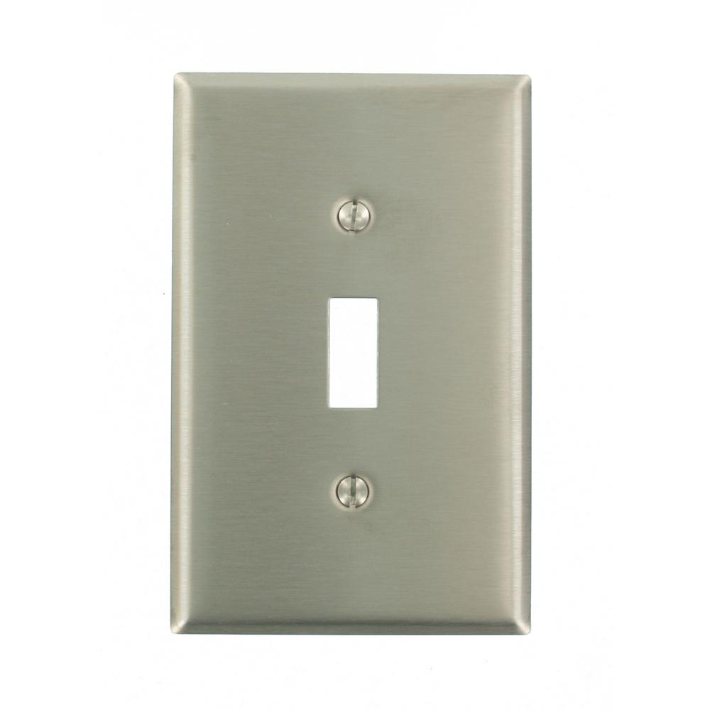 1-Gang 1-Toggle Midway Size Stainless Steel Wall Plate, Stainless Steel