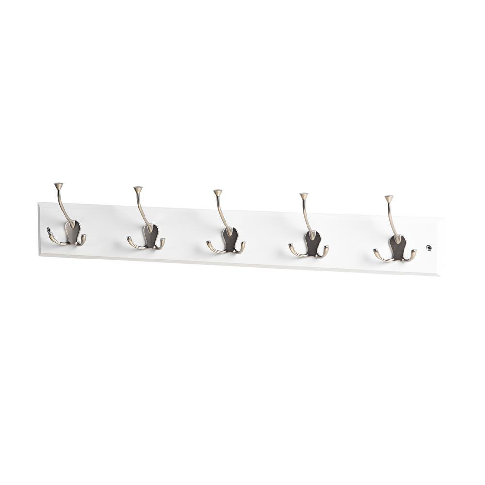 Mascot Hardware 27 in. L Satin Nickel Triple Prong 5-Hooks on White Hook Rail