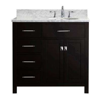 Caroline Parkway 36 in. W Bath Vanity in Espresso with Marble Vanity Top in White with Round Basin