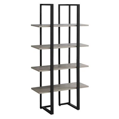 60 in. Dark Taupe with 4-Shelves Composite Bookcase