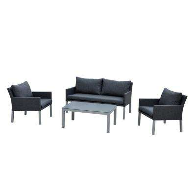 Empire 4 -Piece Aluminum Patio Conversation Set with Charcoal Cushions