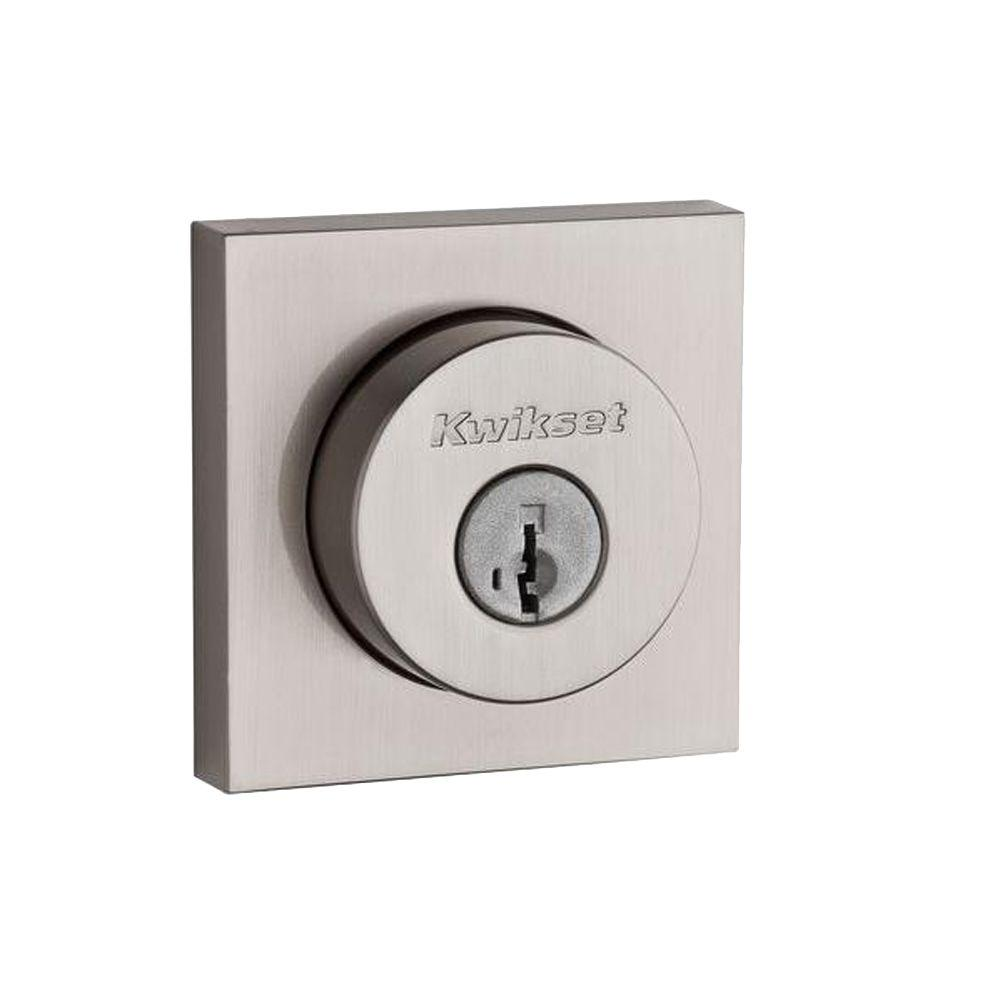Kwikset Kwikset 158 Square Contemporary Satin Nickel Single Cylinder Deadbolt Featuring SmartKey Security