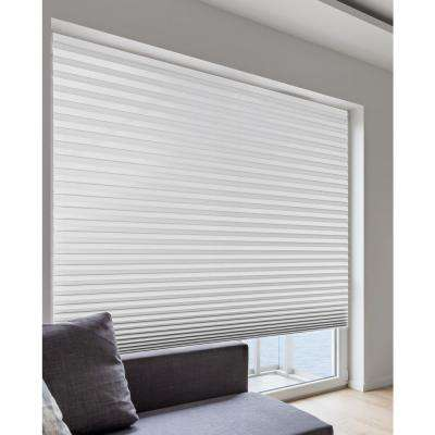 36 in. W x 72 in. L Cordless Room Darkening Gray Size at Home Easy Stick Vinyl Pleated Shade