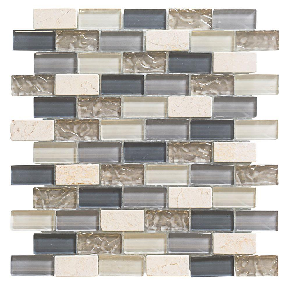Jeffrey Court Iced Ginger 12 in. x 12 in. x 8 mm Glass Onyx Mosaic ...