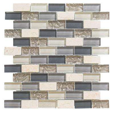 Cedar Cove 9.75 in. x 11.375 in. x 8 mm Glass Travertine Mosaic Wall Tile